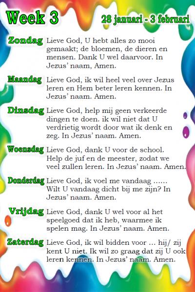 Voorbeeld gebedskalender onderbouw